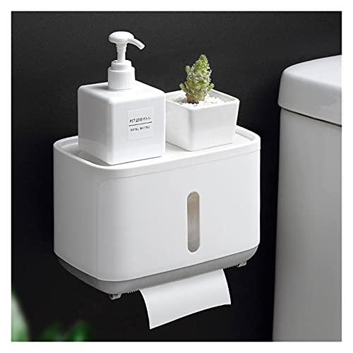 Portarrollos Papel Higiénico Soporte de papel de montaje en pared for el estante de inodoro Caja de agua impermeable papel higiénico Bandeja Rollo Accesorios de baño Caja de almacenamiento Organizador