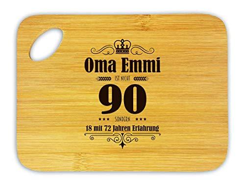 Vesperbrettchen aus Bambus zum 90. Geburtstag Oma Emmi (BZW. Wunschname) ist n