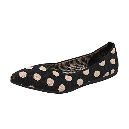 DREAM PAIRS Women's Dfa213 Comfortable Ballet Dressy Work Point Toe Knit Flats Shoes, Size 5, Wave Point