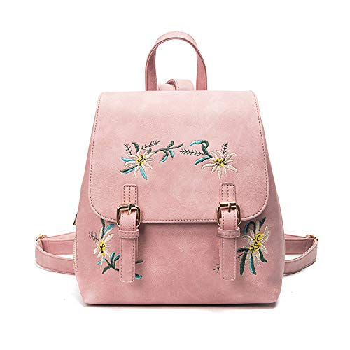 CMZ Backpack Japanese Style PU Leather Women's Embroidered Bag Simple and Fashionable Outdoor Backpack
