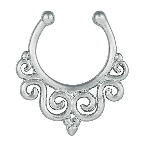 Fake septum piercing zilverkleurig speels spiralen roestvrij staal