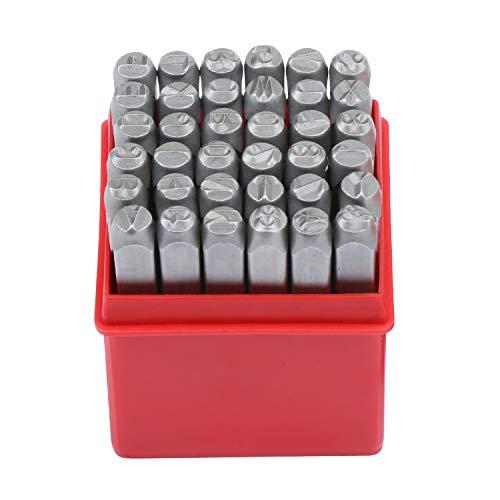 HSEAMALL Juego de 36 sellos de metal y cuero, 4 mm, letras del alfabeto A-Z y número 0-9, juego de sellos de números y letras para manualidades