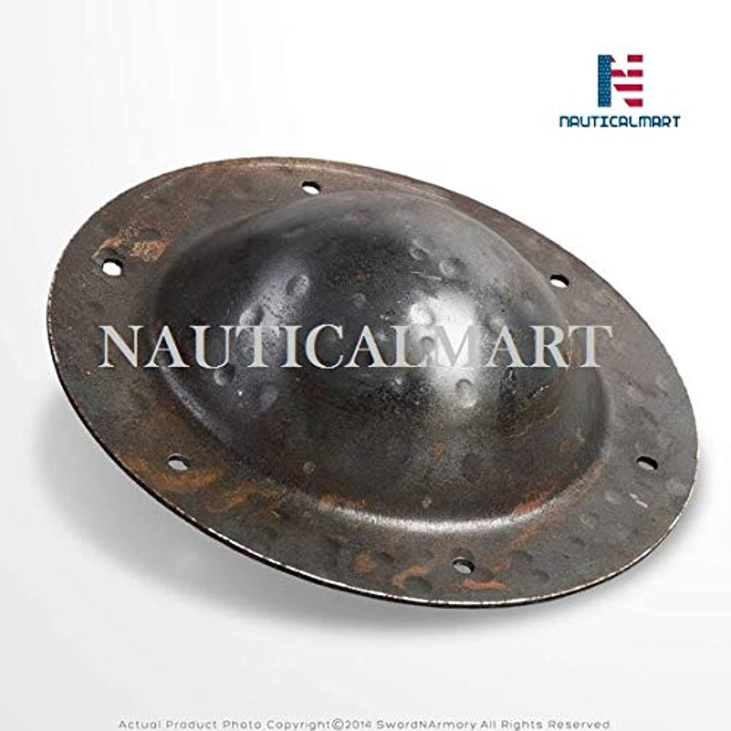 NAUTICALMART Hand Forged Iron 8  Combat Grade Functional Medieval Shield Boss