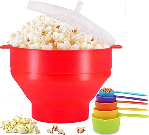 Popcornmaschine Silikon Mikrowellenschüssel mit 5 Messbecher, Zusammenfaltbarer BPA-frei Mini Ohne Ölfür Luft Popcorn Popper Maker, Selbermachen für Zuhause Ofen Mikrowellen Spülmaschinenfest (Rot)