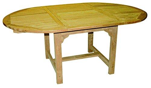 LINDER EXCLUSIV Ovaler Tisch ausziehbar Teak Holz 180/120x90x75cm