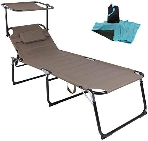 WildStage Bain de soleil XXL pliable en aluminium avec toit jusqu'à 150 kg - Chaise longue pliante 5 positions - Chaise longue de jardin extra haute avec toit pare-soleil - 200 x 70 x 45 cm - Beige