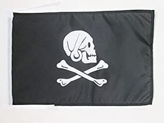AZ FLAG Pirate Henry Avery Black Flag 18'' x 12'' Cords - Skull Pirates Small Flags 30 x 45cm - Banner 18x12 in