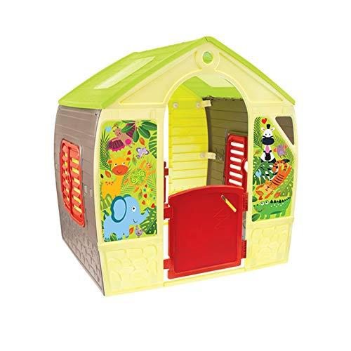 Mochtoys Spielhaus für Kinder | Haus für drinnen und draußen Einfach zu montieren Hergestellt aus UV-beständigem Kunststoff Enthält Aufkleber