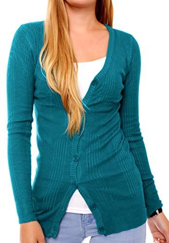 Easy Young Fashion dames gebreide jas fijn gebreid cardigan trui jackje Classic gebreide cardigan V-hals met knopen petrol S/M