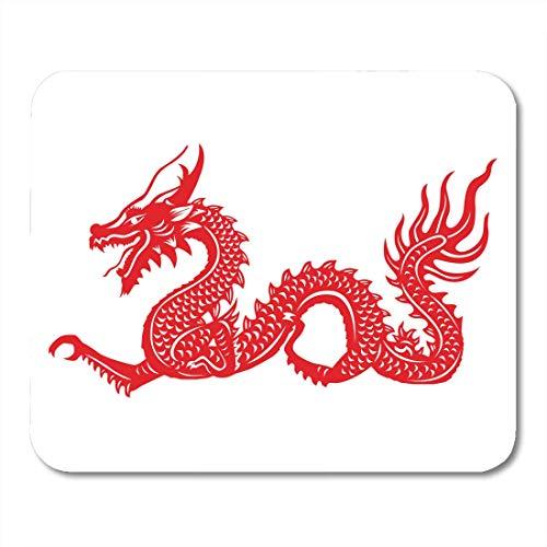 AOHOT Mauspads Chinese Red Cut Out of Dragon China Zodiac Symbols Asian Japanese Karate Mouse pad 9.5