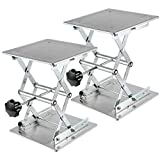 ZEONHAK 2 PCS 8 x 8 Inches Laboratory Lift Stand, Lab Jack Scissor Stand Platform, Lab Lift Stand Table Lifting Jack Platform, Expandable Table Height Range from 85mm to 270mm, Weight Limit 15kg