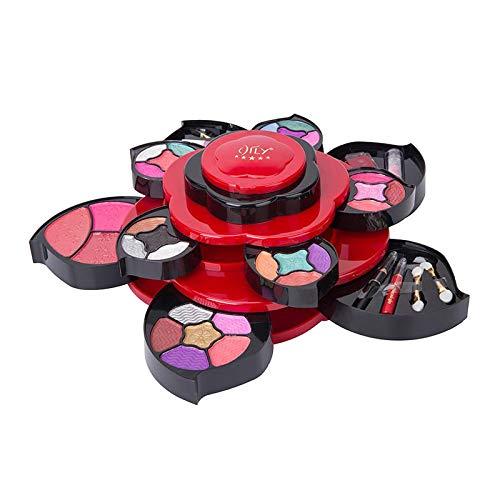 Sharplace Kit de maquillaje exclusivo todo en uno para adolescentes juego de regalo de paleta de flores para niñas variedad de 3 niveles conjunto de