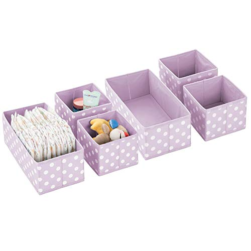 mDesign Soft Fabric Dresser Drawer and Closet Storage Organizer Set for Child/Kids Room, Nursery, Playroom - Organizing Bins in 2 Sizes - Polka Dot Pattern, Set of 6 - Light Purple with White Dots