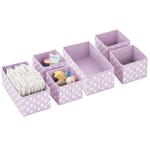 mDesign 6er-Set Aufbewahrungsboxen für das Kinderzimmer, Bad usw. – Kinderzimmer Aufbewahrungsbox im Punkte-Muster – Kinderschrank Organizer in 2 Größen aus Kunstfaser – violett/weiß