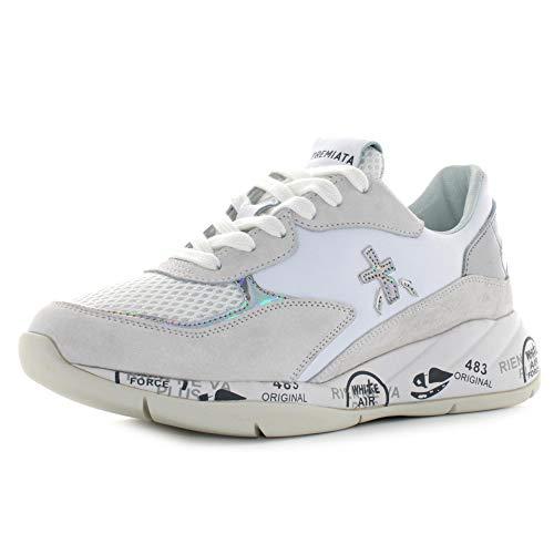 PREMIATA - Donna Scarlett 3694 Scarpa Sneakers in Pelle e Tessuto Bianco - 32371-38