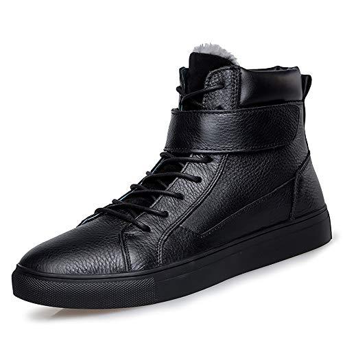 JCCOZ - URG - Botines de moda para hombre, sin esfuerzo, cómodos, para exterior, de algodón (forro polar opcional) URG (color: negro cálido, talla: 37 EU)
