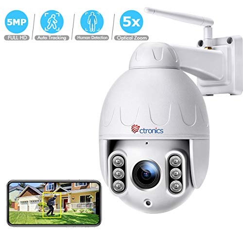 Ctronics PTZ Camera Outdoor Auto Tracking 5MP HD WiFi IP Home Surveillance Camera, Pan/Tilt/Zoom, 5X Optical Zoom, with 2 Way Audio, Motion Detection,165 feet Night Vision, IP66 Waterproof (White)