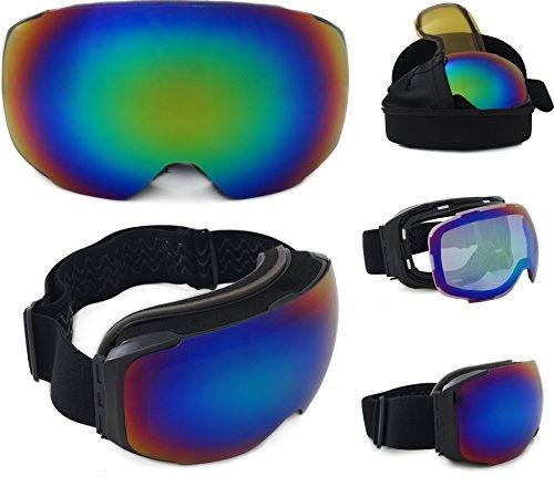 Miholi Skibrille verspiegelt Whistler 2018 Unisex mit magnetischem Wechselglas für schlechte Sicht inkl. Brillenetui (Eva-Box) + Brillenputztuch   Kratzfeste Schneebrille Snowboardbrille