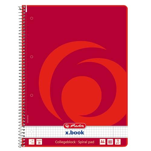 Herlitz 306456 Collegeblock A4, 80 Blatt Rand links und rechts, Lineatur 28 (kariert mit 2 Rändern) 10 Stück