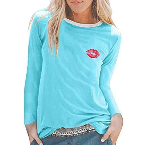 Hemd Damen Langarm Rundhals Sexy Modern Lippen Drucken Locker Personalisierte Dance Sweatshirt Casual Sport Wander Jogging T Shirt Herbst Weihnacht Party Tops XL