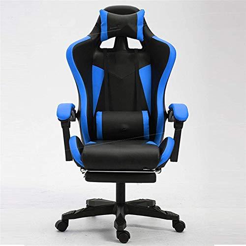 YONGYONGCHONG Silla de oficina, silla de computadora, silla de carreras de Internet, silla de juegos, silla de oficina para uso en el hogar y la oficina para adultos (color azul, sin reposapiés)