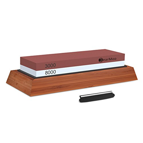 BearMoo Schleifstein, Wetzstein Abziehstein für Messer mit 3000/8000 Körnung, inkl. Anleitung zum Messer schärfen und Gummi-Steinhalter sowie Bambus Basis und Messer-Halter