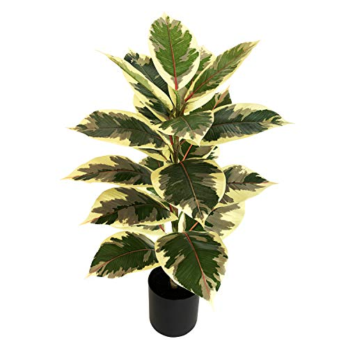BESAMENATURE 30 Inch Little Artificial Rubber Tree Plant - Fake Ficus Tree- Faux Tropical Tree Used for Home Office Decoration, Golden