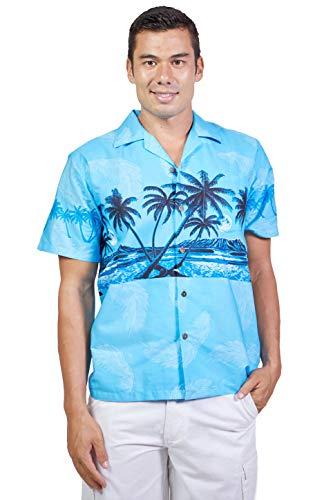 Tropical Luau Beach Palm Tree Print Men's Hawaiian Aloha Shirt (X-Large, Blue)