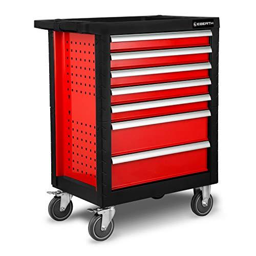 EBERTH Werkstattwagen rot inkl. Werkzeug (7 kugelgelagerte Schubfächer, 5 Schubladen mit Werkzeug...
