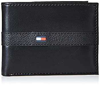 Tommy Hilfiger Men s Leather Wallet – Slim Bifold with 6 Credit Card Pockets and Removable ID Window Casual Black Ranger One Size