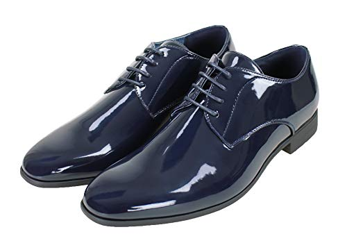 Evoga Scarpe uomo Class blu/nero lucido vernice eleganti cerimonia (43, Blu scuro)