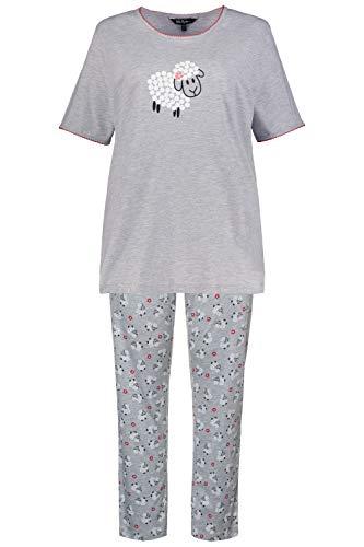 Ulla Popken Damen große Größen Pyjama, Schaf Nachthemd, Grau (Hellgrau-Melange 72797013), 50-52