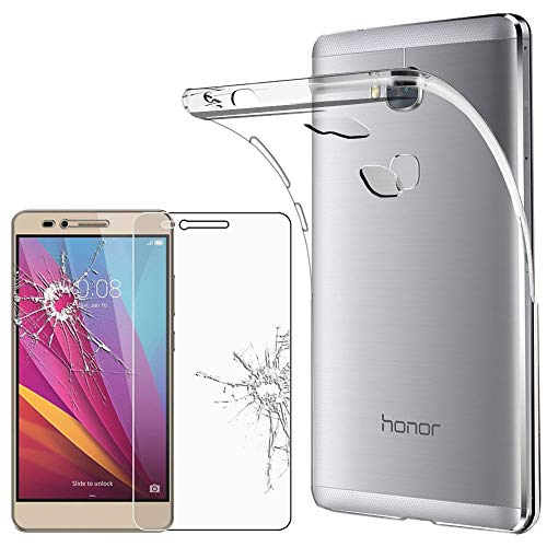 ebestStar - kompatibel mit Huawei Honor 5X Hülle Handyhülle [Ultra Dünn], Durchsichtige Klar Flex Silikon Schutzhülle, Transparent + Panzerglas Schutzfolie [Honor 5X: 151.3 x 76.3 x 8.2mm, 5.5'']