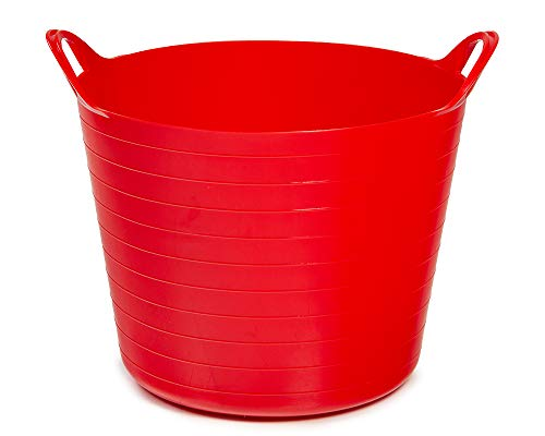 Ondis24 Tragekorb Flexi Tub 26L, Spielzeug Eimer Kinderzimmer, Wäschekorb Flexibler Kunststoff, Garten Kübel, rot