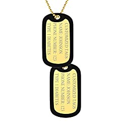 ❤ QUALITYASSURED❤Nickel-Free, Lead free & cadmium-freestainless steel finishedwiththehighestcoverageof18Kgoldplating, this dog tag necklace's shine is long last. ❤ ENGRAVABLE❤ The dog tag front side is available for engraving with your o...
