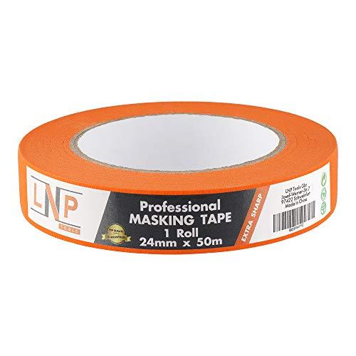 LNP Tools Profi Automotive Kreppband 24mm x 50m (Extra Scharfe Farbkanten) Das Abdeckband für Lackier- und Steicharbeiten