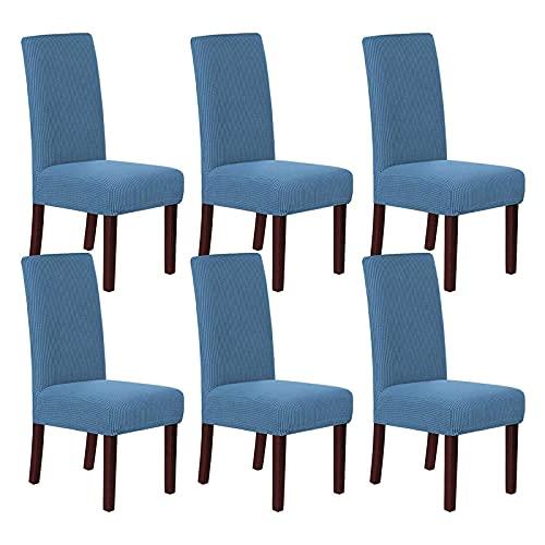 YUEWEIWEI 6 Packung Hohe Stretch Rich Jacquard Dinning Chair Cover High Spandex Lycra Protector Sitzmaschine Waschbare Rutschfestigkeit Stuhlabdeckungen, Dusty Blue