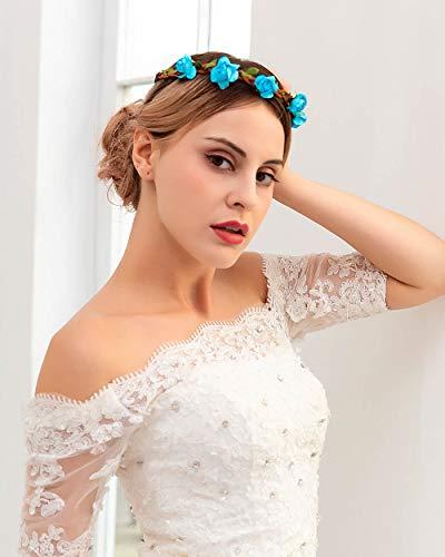 Simsly Corona de flores bohemia, corona de boda, diadema con flores azules o blancas, accesorios para el pelo para mujeres y niñas (azul)