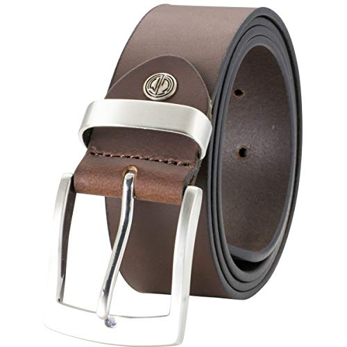 Lindenmann Mens Leather Belt/Mens Belt, full grain leather belt XXL, buffalo leather, dark brown, Größe/Size:110