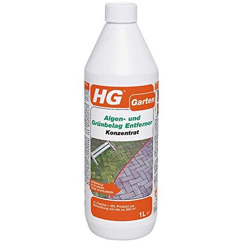 HG Algen- und Grünbelag Entferner Konzentrat 1L – ist ein konzentrierter Algen- und Grünbelagentferner für Terrassen, Pflasterungen und Wände
