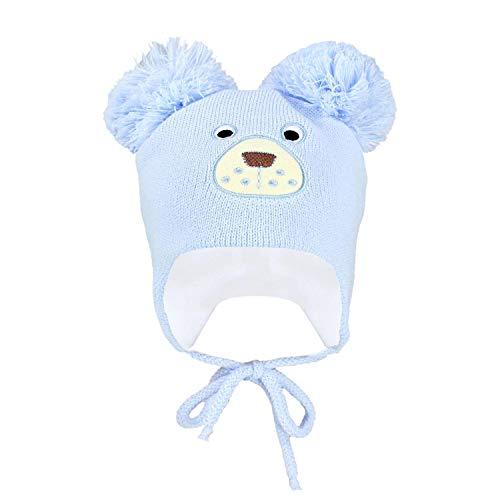 TupTam Baby Strickmütze Bär Wintermütze mit Zwei Bommel, Farbe: Hellblau, Größe: 42-44