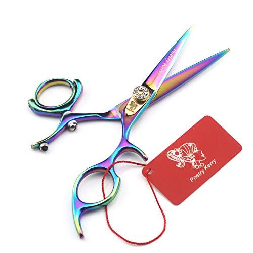 HYAA Sharp Edge Tijeras de peluquería 5.5 inch720 ° Giro de Pulgar 3 Tijeras de Corte Anillo salón de Pelo con Multicolor Shear Bolsa-