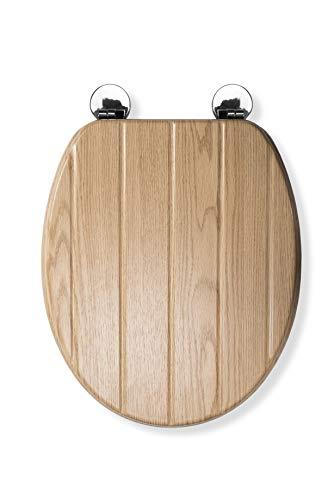 Croydex WL602176H Flexi-Fix Geneva Always Fits Never Slips Anti Bacterial Toilet Seat, Wood, Light Oak Effect Tongue & Groove, 45 x 37.5 x 6 cm