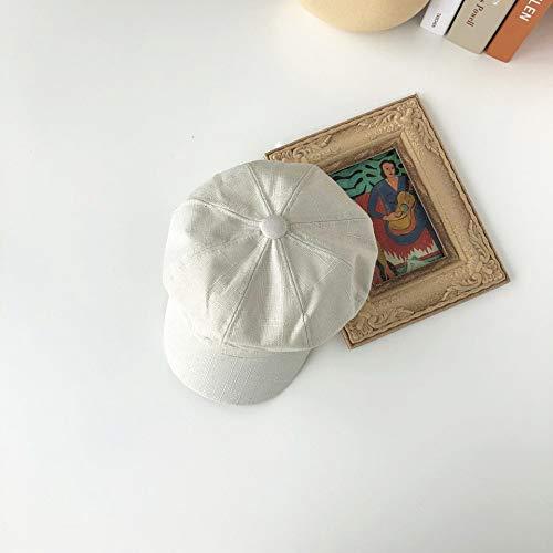 mlpnko College Wind Bailey Hut weibliche britische lässig einfarbig Ente Zunge Maler Hut weiß M (56-58cm)