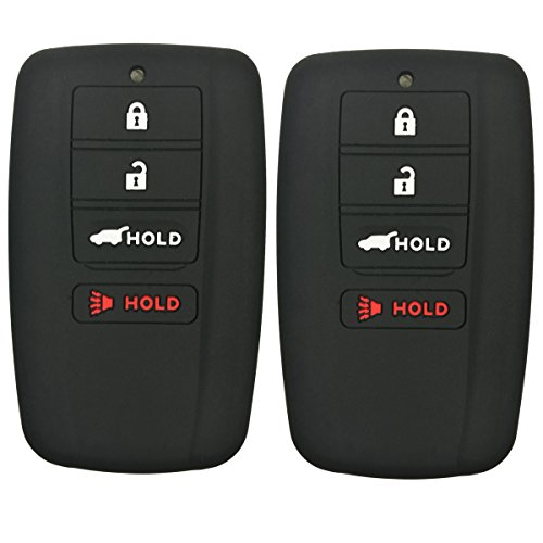 Coolbestda 2Pcs Rubber 4buttons Smart Key Fob Full Protector Remote Skin Cover Case Keyless Jacket for Acura RLX RDX MDX ILX TLX Black
