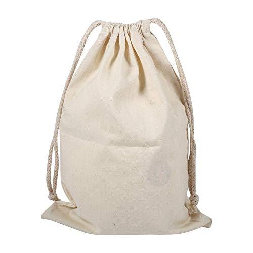 PACK de 6 sacs de cordon de coton, sac plat de Stuff de sac de blanchisserie de stockage de cordon de coton de ménage pour l'usage à la maison de voyage(22*28cm)