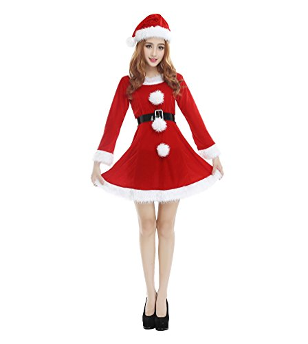 WanYang Damen Outfit Rot Lange Ärmel Weihnachtsfrau Kostüm Sexy Weihnachten Kleid Elfe Santa Weihnachtsmann Cosplay Kostüm