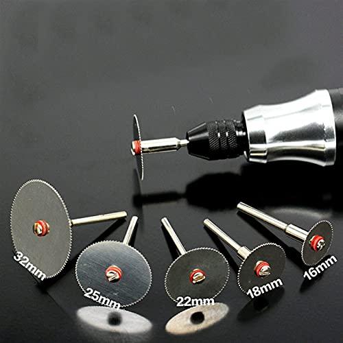 kengbi Juego de 6 ruedas de corte de diamante de acero inoxidable con 1 mandril para herramientas rotativas Dremel 16 18 22 25 32 mm disco de corte (diámetros exteriores: 6 unidades)