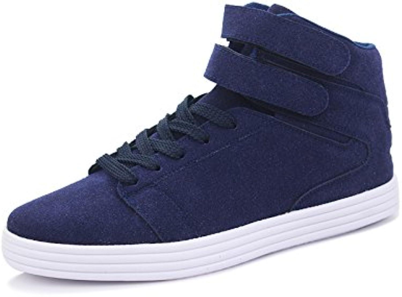 Men's casual fashion canvas shoes shoes all-match canvas shoes high shoes casual shoes,bluee,Forty-four