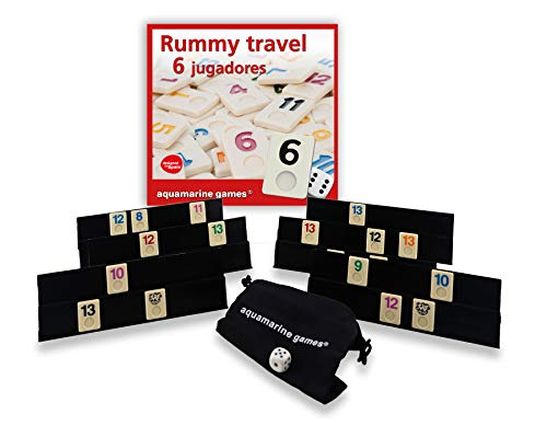 Aquamarine Games- Rummy travel 6 jugadores, Multicolor (DO004)